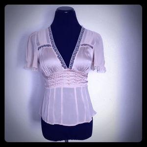 Bebe Beige Lace V-Neck Short Sleeve Blouse Size M